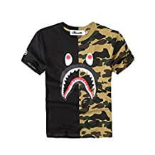 Christo Boy's Casual Fashion Crewneck T Shirt Camo Tees Unisex Pullover Tops Black L