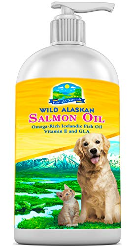 Fairfield Naturals Omega 3 Pet Fish Oil for Dogs & Cats - Organic Wild Alaskan Salmon Fish Oil | Supports Joint Function, Immune & Heart Health - All Natural DHA & EPA Fatty Acids for Skin & Coat 8oz