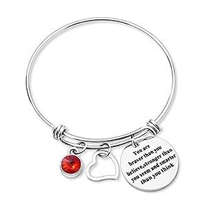 Yoomarket Inspirational Bracelets Birthstone Heart Adjustable Charm Believe Bracelet You are Braver Than Stainless Steel Women Jewelry Birthday Gift