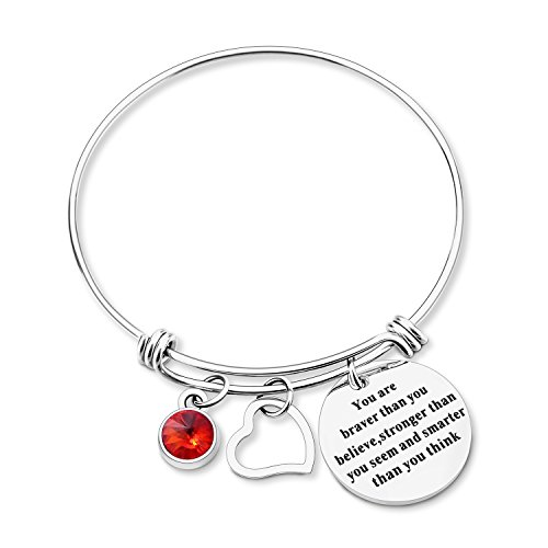 "Yoomarket Inspirational Birthstone Heart Adjustable Charm Bangle Bracelet-""You are braver than you believe"" Stainless Steel Womens Jewelry Birthday Girls Gifts"