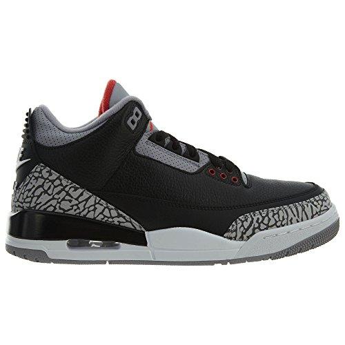 Nike 854262 Noir 001 en Air Gris Jordan Chaussures Black Cement Cuir 3 et Retro rC4r7nB6