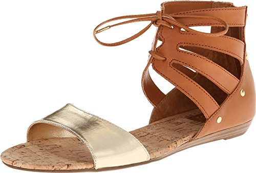 DV by Dolce Vita Women's Darlah Honey/Gold Leather Sandal 7.5 M