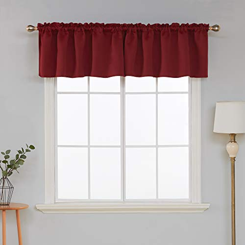 Deconovo Red Rod Pocket Window Valances Blackout Valance Curtain Light Blocking Valance for Bedroom 52x18 Inch Burgundy 2 Panels (Red Valance Window Solid)