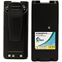 2x Pack - Icom IC-V82 Battery with Clip - Replacement for Icom BP-210 Two-Way Radio Battery (1600mAh, 7.2V, NI-MH)