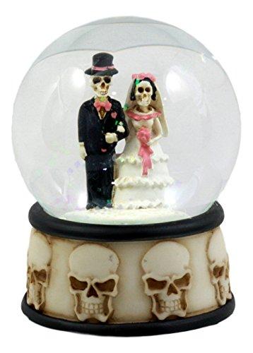 Love Never Dies Skeleton Wedding Couple Small Water Globe Figurine Day Of The Dead Wedding Gift Decor Dias De Los Muertos (Gothic Snow)