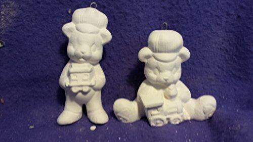Ceramic Bisque Teddy Bear - Clay Magic Teddy Bear w train ornaments set of 2