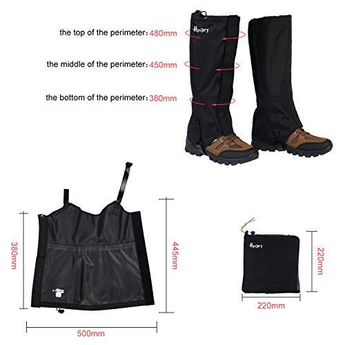 Review Hpory 1 Pair Hiking Leg Gaiters, Snow Boot Gaiters, Breathable Waterproof Walking High Leg Cover, 600D Anti-tear Oxford Cloth, for Outdoor Research Climbing Fishing Hunting Trimming Grass