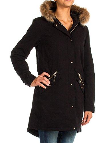 Normale Pour Manche Parka Couleur Jeans Unie Noir 899 Fourrure Taille 482 Écologique Femme Carrera Longue vqCSP
