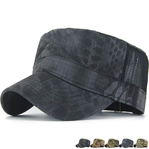 Rayna Fashion Men Fitted Cadet Cap US Military Hat Castro Snake Peaked Baseball Caps