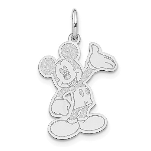 Roy Rose Jewelry 14k White Gold Waving Mickey Mouse Charm Necklace Complete with Chain Trademark and Licensed