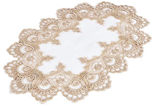 Gold Doily or Placemat in European Lace with Cream Fabric Size 12