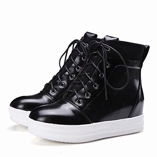 Latasa Kvinna Mode Snörning Plattform Inne Låg Kilar Fotled Oxford Boots Svart