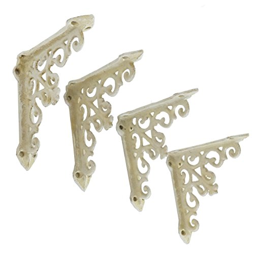 NACH js-90-061AW Victorian Shelf Bracket (Pack of 4), Small, White (4.92x4.92x1.18) (Brackets Decorative)