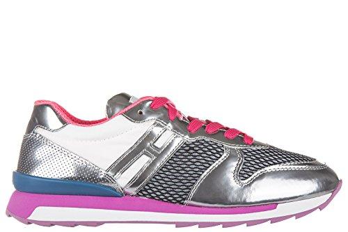 Hogan Rebel chaussures baskets sneakers femme en cuir r261 punzonato argent