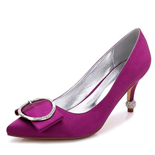 Encargo Para Alto Purple Seda Zapatos 41 Punta yc Puntada Primavera Mujeres De Por B L 17767 Tacón Boda Estrecha qXBgaaw