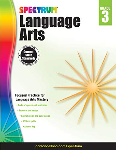 Carson Dellosa - Spectrum Language Arts, Focused Practice for Language Arts Mastery for 3rd Grade, 176 Pages, Ages 8-9 with Answer Key