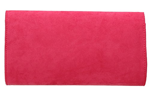 SwankySwans - Sabrina Suede Look Party Prom Clutch Bag, Sacchetto Donna Fuschia