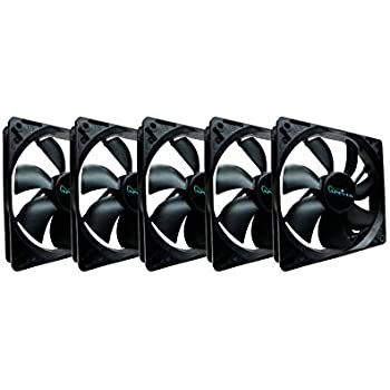 Apevia CF512S-BK 120mm 4pin & 3pin Black Silent Case Fan (5-pk)