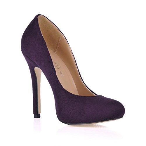 Best 4U® Tacchi alti donna Tacco a spillo in gomma elasticizzata Tacco a punta elastica in velluto 12CM Scarpe autunno primavera viola