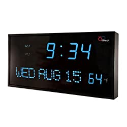 DBTech JID0312BLU Big Oversized Digital Red LED Calendar Clock with Day Date and Temperature (Blue)
