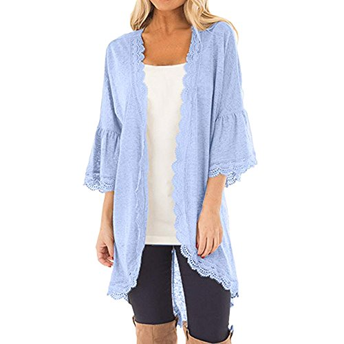 Syban Women's Loose Casual 3/4 Bell Sleeve Lace Kimono Cardigan