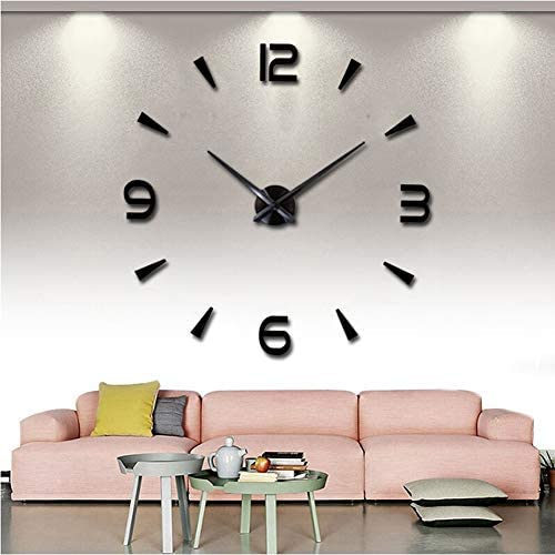 FASHION in THE CITY 3D DIY Wall Clock Creative Design Mirror Surface Wall Decorative Sticker Watches Black