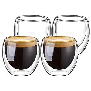 Domowin - Juego de tazas de cristal para espresso, tazas