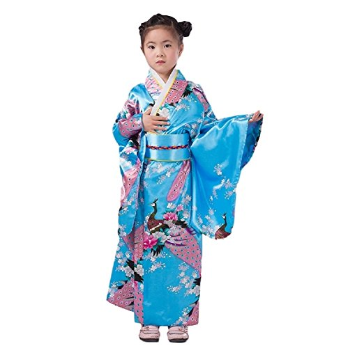 SSJ Kimono Robe [ Flower Design for Kids ] Japanese Traditional Costume (47.2inch-120, SkyBlue) for $<!--$34.99-->