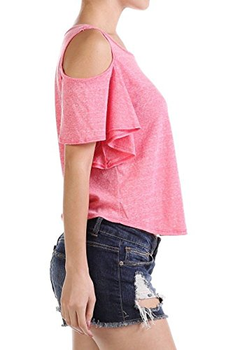 Modern Kiwi Layla Solid Off-The-Shoulder Short Sleeve T-Shirt Top Grey Small
