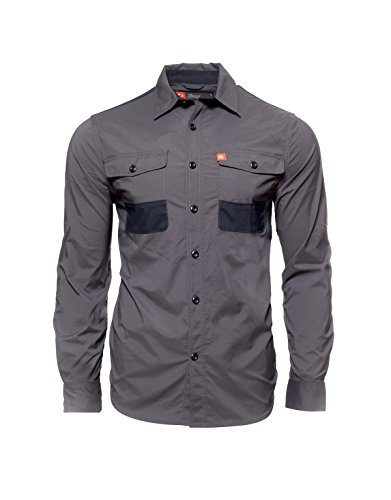 Nylon Ripstop Tactical Shirt - American Outdoorsman The Stretch Ripstop Tactical Shirt with Elbow Patches (Medium, Raven)