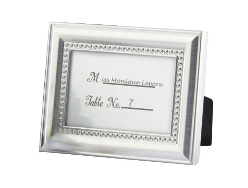 A landscape picture frame in Silver, embellished with beads.