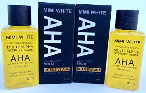 Mimi White AHA White Body Serum Multi Alpha Hydroxy Acids Skin Bleaching, Removes Dark Spots - Pack of 2 30ml