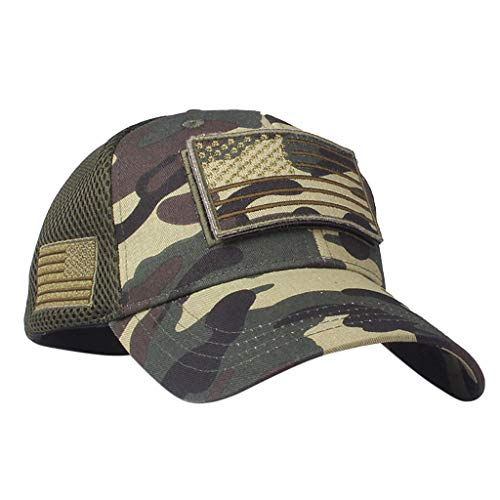 2019 Unisex USA Flag Casaul Hats Trucker Special Tactical Operator Forces Patch Adjustable Baseball Cap Dad Hats (Green, Adjustable)