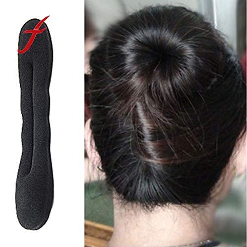 1Pc Foam Sponge Bun Shaper Fast Easy Magic Hair Bun Maker Portable Hair Braiding Tool Adjustable Hair Accessories Bun Form Doughnut Rings for Thin Hair Convenient Hair Bun Maker Bundle (Black)