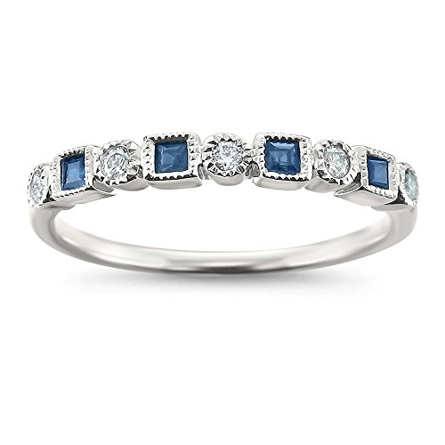 14k White Gold Round Diamond & Princess-Cut Blue Sapphire Bridal Wedding Band Ring (1/4 cttw, I-J, I2-I3), Size 7 ()
