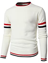 Mens Casual Slim Fit Pullover Lightweight Thin Fabric Sweaters Stripe Patterned