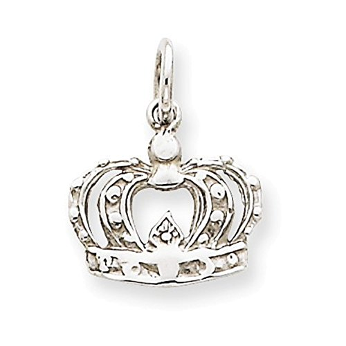 Jewelry Adviser Charms 14k White Gold Crown - White 14k Gold Crown Charm