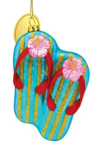 Cape Shore Blue Flip Flops with Pink Hibiscus Blown Glass Christmas Holiday Ornament