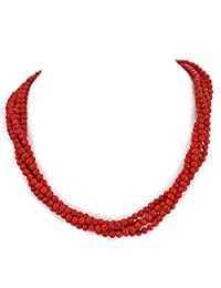 """003 Ny6Design 4 Strands Red Coral Round Beads Long Necklace w silver Tone Toggle18"""" N13010108c"""