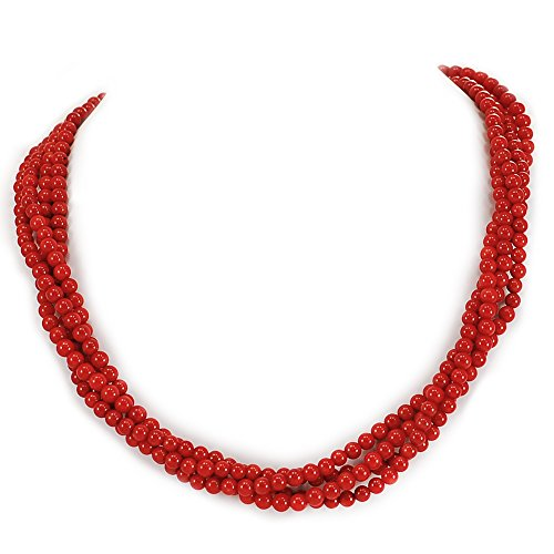 003 Ny6Design 4 Strands Red Coral Round Beads Long Necklace w silver Tone Toggle18'' N13010108c by Ny6design