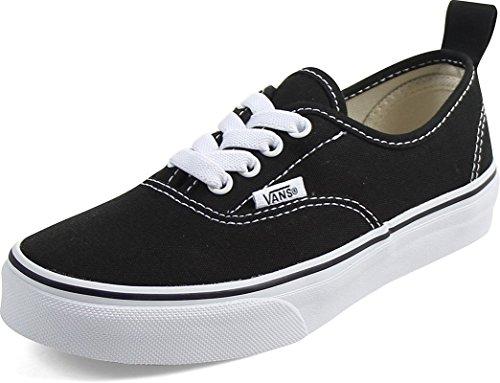 Vans Kids Authentic Elastic (Elastic Lace) Skate Shoe Black/True White 3.5