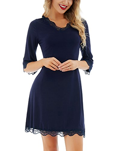 Dromild Women's Sleep Shirt 3/4 Sleeves V Neck Nightgown Sexy Lace Sleepwear Blue XXL