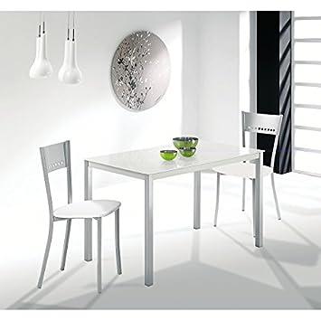 Mesa de cocina 110x75 cm Fija en aluminio y tapa cristal en ...