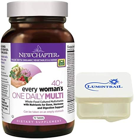 New Chapter Every Woman s One Daily 40 , Women s Multivitamin Fermented with Probiotics Vitamin D3 B Vitamins – 72 ct Bundle with a Lumintrail Pill Case