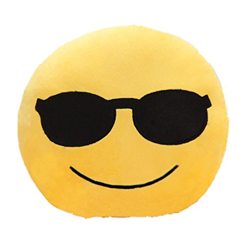 Emoji Cute Pillow Cool Sunglasses Face Yellow Stuffed Soft Plush Funny Comfortable Cushion Perfect Fun Item for Home Living Room Bedroom by TheBigThumb -