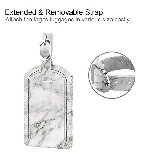 [2 Pack] Luggage Tags, Fintie Synthetic Leather Name ID Labels with Back Privacy Cover for Travel Bag Suitcase, Marble White