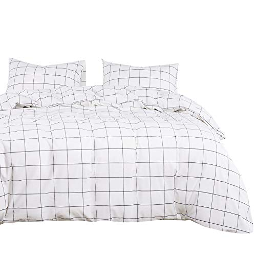 Wake In Cloud – White Grid Duvet Cover Set, 100% Washed Cotton Bedding, White with Black Grid Geometric Pattern Printed, with Zipper Closure (3pcs, Queen Size)