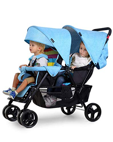 Double Stroller for Baby and Toddler-Tandem Duo Connect Strollers (Color : Blue)