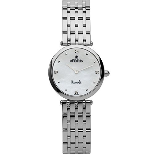 MICHEL HERBELIN WOMEN'S STEEL BRACELET & CASE QUARTZ WHITE DIAL WATCH 1045/B89