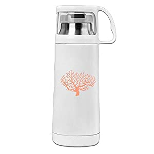 Karen Garden Orange Coral Stainless Steel Vacuum Insulated Water Bottle Leak Proof Handled Mug White,12oz